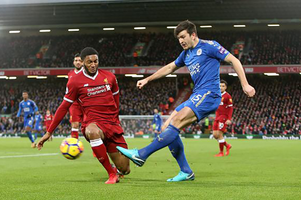 Harry Maguire passing the ball